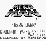 Mega Man: Dr. Wily's Revenge Game Boy Title screen