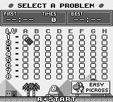 Mario's Picross Game Boy Select a problem