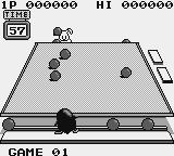 Penguin-Kun Wars Game Boy Sending a volley at the rabbit