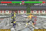 "Mortal Kombat: Tournament Edition Game Boy Advance Quickly recovered of Cyrax's ""Slice-and-Dice"" move damage, Johnny Cage is able to resume the match!"
