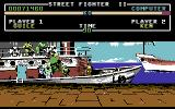 Street Fighter II Commodore 64 Guile vs Ken, who has dark hair in the C64 version
