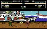 Street Fighter II Commodore 64 Ken walking straight into Guile's Sonic Boom