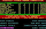 Omni-Play Horse Racing DOS Stable competition menu (EGA)