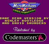 Micro Machines 2: Turbo Tournament Game Gear Title Screen.