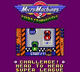 Micro Machines 2: Turbo Tournament Game Gear Game selection.