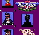 Micro Machines 2: Turbo Tournament Game Gear Player selection.