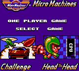 Micro Machines Game Gear Game selection screen.