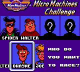Micro Machines Game Gear Oponnent selection.