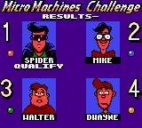 Micro Machines Game Gear Race results.