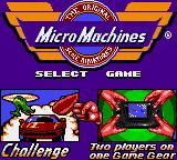 Micro Machines Game Gear Number of players selection screen.