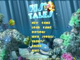 The title screen shows fish swimming around and eating one another.