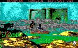 Conquests of the Longbow: The Legend of Robin Hood DOS Riding a boat off to the monastery (EGA/Tandy)