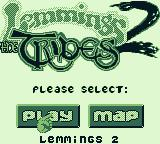 Lemmings 2: The Tribes Game Boy Title screen/main menu