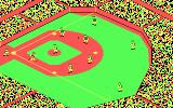 The World's Greatest Baseball Game PC Booter A hit! running to first base... (CGA with RGB monitor)