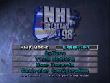 NHL Breakaway 98 Nintendo 64 Main menu.