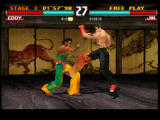 Tekken 3 PlayStation Eddy sidestepped the first kick, but the second one will hit.