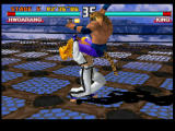 Tekken 3 PlayStation King using one of his many wrestling moves.