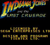 Indiana Jones and the Last Crusade: The Action Game Game Gear Title screen 3.