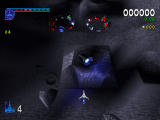 Galaga: Destination Earth PlayStation Moon Level Top Down view - Galaga spirals
