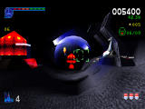Galaga: Destination Earth PlayStation Moon Level 3D view - Destroying generators.