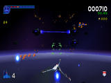 Galaga: Destination Earth PlayStation Orbit Level 3D - approaching space station section.