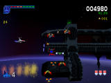 Galaga: Destination Earth PlayStation Orbit Level Side On - Beside space station