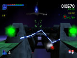 Galaga: Destination Earth PlayStation Orbit Level 3D - Weaving through the space station.