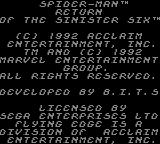 Spider-Man: Return of the Sinister Six Game Gear Title screen 1.