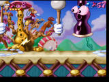 Rayman PlayStation While dodging giant drumsticks, a flute shoots lightning at Rayman.