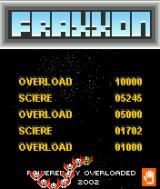 Fraxxon J2ME High score screen
