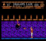 Sullivan Bluth Presents Dragon's Lair NES Dirk fighting the second stage's final boss with fireballs.