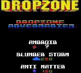 Dropzone Game Gear Title screen with more adversaries