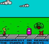 The Simpsons: Bart vs. the Space Mutants Game Gear Here it all starts. In this first stage, Bart must get rid of purple objects, like that trash can.