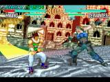 Soul Blade PlayStation Cervantes' attack missed and Hwang is already starting a counterattack.