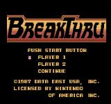 BreakThru NES Title screen