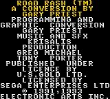 Road Rash Game Gear Credits screen.