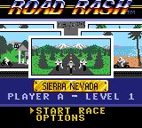 Road Rash Game Gear Main menu screen.