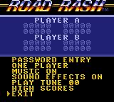 Road Rash Game Gear Options screen.
