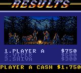 Road Rash Game Gear Race results.
