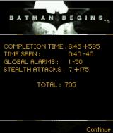 Batman Begins J2ME Statistics after each stage