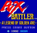 Ax Battler: A Legend of Golden Axe Game Gear Title screen.