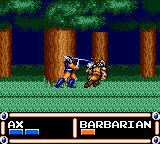 Ax Battler: A Legend of Golden Axe Game Gear Battle's background changes depending on the terrain you're in. This is a forest battle.