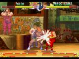 Street Fighter Alpha 2 PlayStation Adon connecting successfully his elbow-based move Jaguar Crunch in Guy.