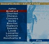David Beckham Soccer Game Boy Color Selecting teams.