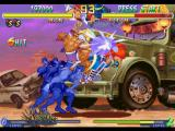 Street Fighter Alpha 2 PlayStation With the 6 hits of Adon's super combo Jaguar Assault (Level 3), Sodom goes to the heights!