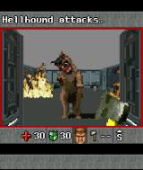 DOOM RPG J2ME A Hellhound attacks, but I'm carrying an axe.