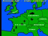 Ace of Aces SEGA Master System Map of Europe, with all your objectives marked.