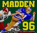 Madden 96 Game Gear Title screen