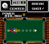 "Side Pocket Game Gear 9-Ball game start: when preparing a shot, the ""ghost ball"" line marks where the white ball will go."