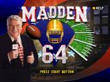 Madden Football 64 Nintendo 64 Title screen.